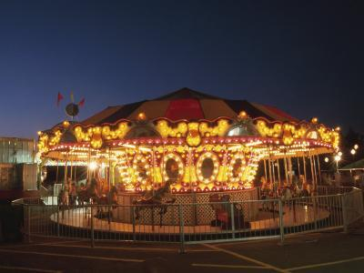 Lights Illuminating Carnival Ferris Wheel at Night--Photographic Print