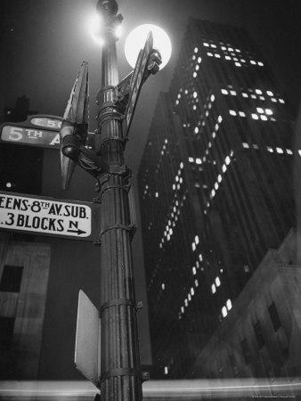 Lights in Skyscrapers at Rockefeller Center Being Dimmed to Conserve Energy During WWII-William C^ Shrout-Photographic Print