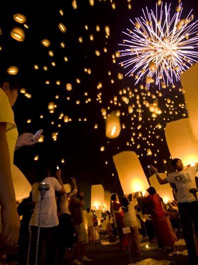 Lights, Lanterns and Mobile Phones at Loi Krathong Festival-Felix Hug-Photographic Print