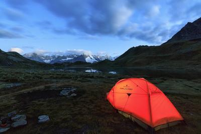 Lights of a Tent around Fenetre Lakes at Dusk, Aosta Valley-Roberto Moiola-Photographic Print