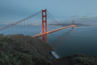 Lights on the Golden Gate Bridge at Dusk-Jeff Mauritzen-Photographic Print