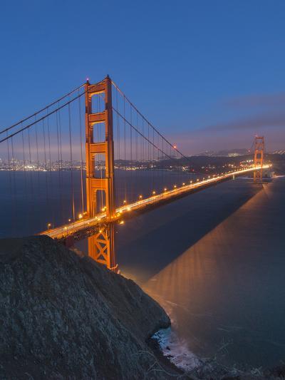 Lights on the Golden Gate Bridge at Night-Jeff Mauritzen-Photographic Print