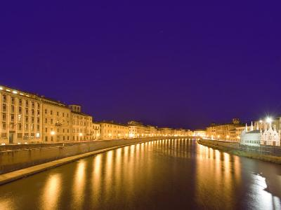 Lights Reflect on the Arno River, Pisa, Italy-Dennis Flaherty-Photographic Print