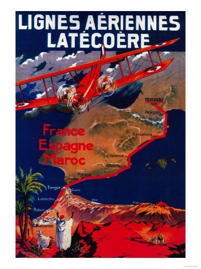 Lignes Aeriennes Latecoere Vintage Poster - Europe-Lantern Press-Art Print