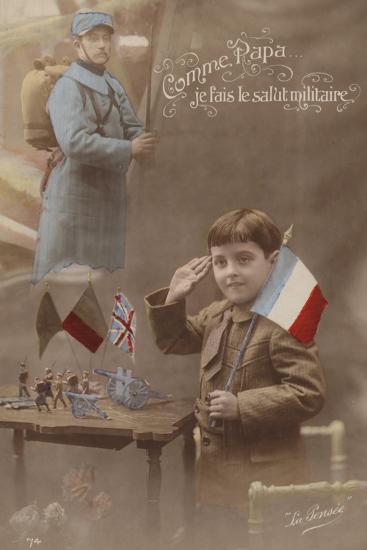 Like Father I Give the Military Salute--Photographic Print