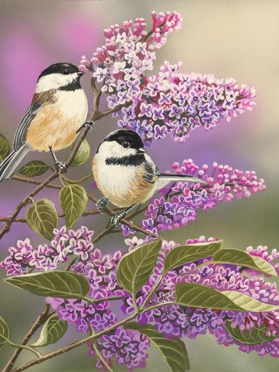 Lilacs and Chickadees-William Vanderdasson-Giclee Print