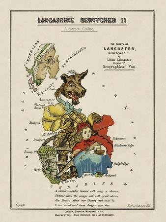 Map Of Lancashire Represented As Red Riding Hood, Her Grandmother and the Wolf.