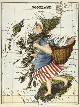 Map Of Scotland As a Woman Carrying a Basket Of Fish.