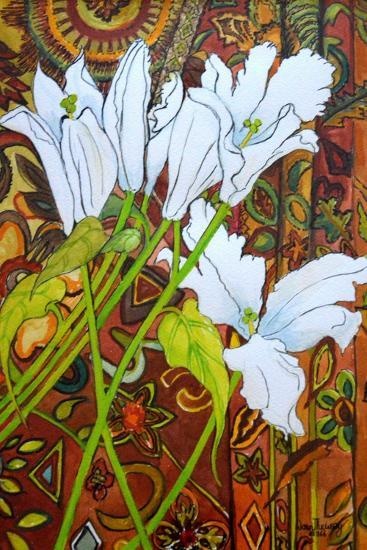 Lilies Against a Patterned Fabric-Joan Thewsey-Giclee Print