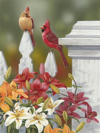Lilies and Cardinals-William Vanderdasson-Giclee Print