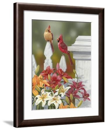 Lilies and Cardinals-William Vanderdasson-Framed Giclee Print