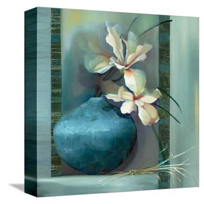 Lilies in a Blue Vase-Louise Montillio-Stretched Canvas Print