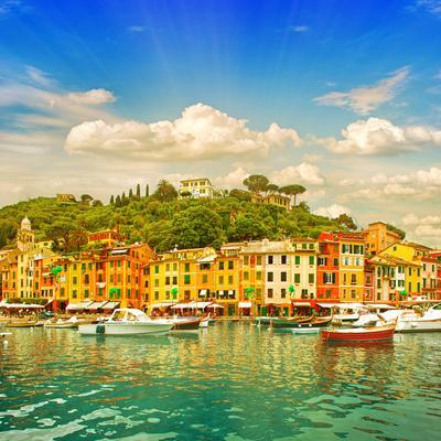 Beautiful Sunset in Portofino Village on Ligurian Coast, Italy