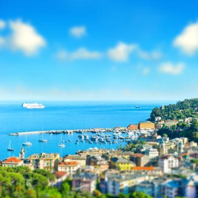 Panoramic View with Tilt-Shift Effect. Santa Margherita, Ligurian Resort , Italian Riviera. Beautif