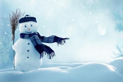 Merry Christmas and Happy New Year Greeting Card with Copy-Space.Happy Snowman Standing in Winter C