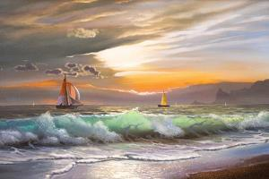 Oil Painting On Canvas , Sailboat Against A Background Of Sea Sunset by Lilun
