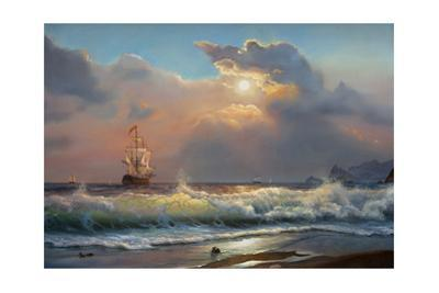 Oil Painting On Canvas , Sailboat Against A Background Of Sea by Lilun