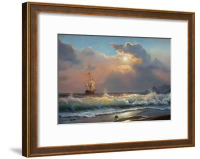 Oil Painting On Canvas , Sailboat Against A Background Of Sea