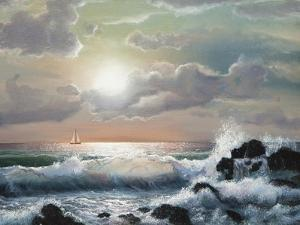 Sea Sunset, Oil Painting by Lilun