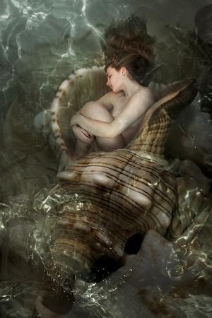 The Beautiful Girl Sleeps In A Sea Cockleshell