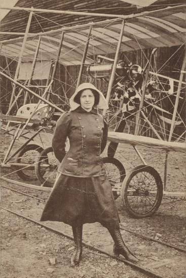 Lily Irvine Martin, the First Woman to Fly an Aeroplane, at Hendon Aerodrome, London--Photographic Print