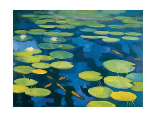 Lily Pond with Koi-Michael Clark-Art Print