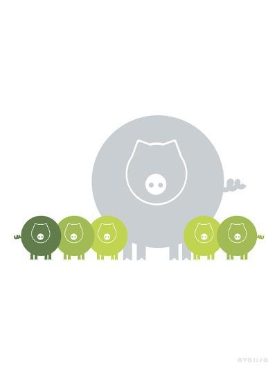 Lime Baby Pigs-Avalisa-Art Print