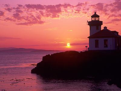 Lime Kiln Lighthouse, Entrance to Haro Strait, San Juan Island, Washington, USA-Jamie & Judy Wild-Photographic Print
