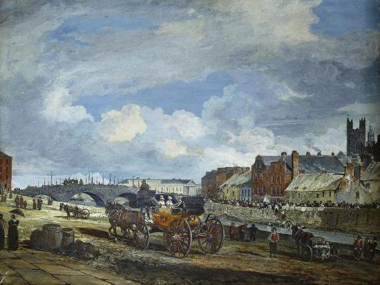 Limerick: Charlotte Quay and George's Quay, Matthew Bridge and the Customs House-William Turner Lond-Giclee Print