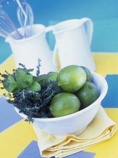 Limes, Mint and Thyme in a Bowl-Linda Burgess-Photographic Print