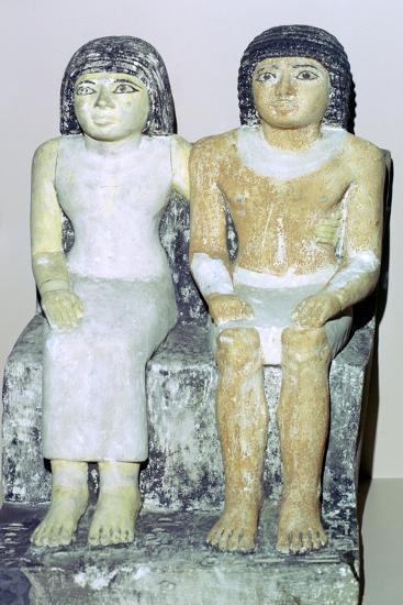 Limestone Egyptian statue of a man and his wife. Artist: Unknown-Unknown-Giclee Print