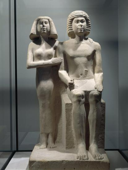 Limestone Sculptural Group Depicting a Married Couple--Giclee Print