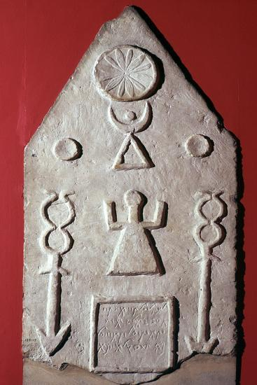 Limestone stela with a dedication to Baal, from Carthage, north Africa, 2nd-1st century BC-Unknown-Giclee Print