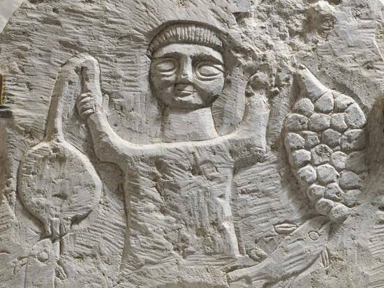 Limestone Stele Depicting Male Figure with Fruit, from Maktar--Photographic Print