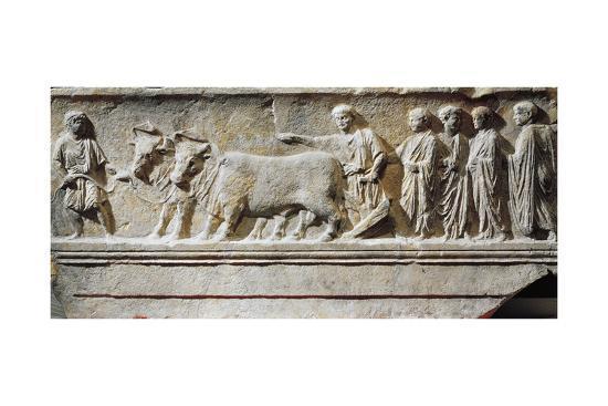 "Limestone ""Sulcus Primigenius"" Relief, Representing Ceremony of Foundation of City of Aquileia--Giclee Print"
