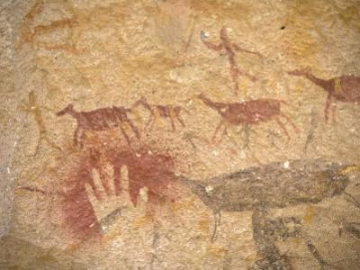 Ancient Paintings in Cave of the Hands, Santa Cruz Province, Patagonia, Argentina by Lin Alder
