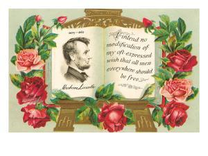Lincoln in Book with Quotation