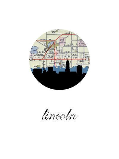 Lincoln Map Skyline--Art Print