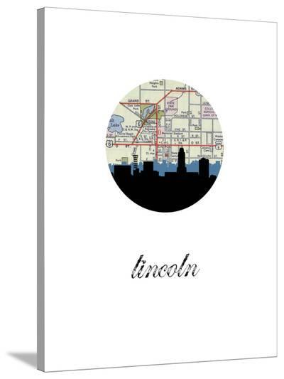 Lincoln Map Skyline-Paperfinch 0-Stretched Canvas Print