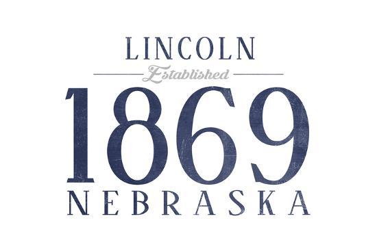 Lincoln, Nebraska - Established Date (Blue)-Lantern Press-Art Print