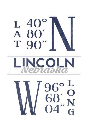 Lincoln, Nebraska - Latitude and Longitude (Blue)-Lantern Press-Art Print