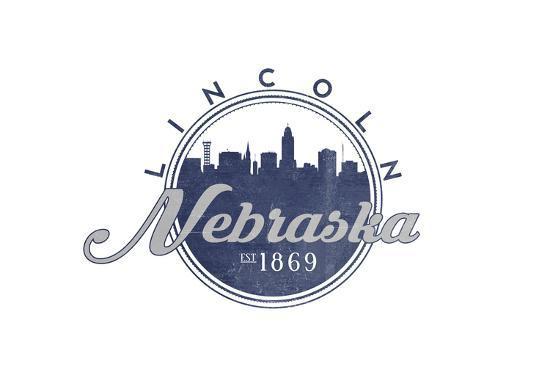 Lincoln, Nebraska - Skyline Seal (Blue)-Lantern Press-Art Print