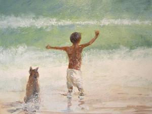 Boy and Dog, Lifeguard by Lincoln Seligman
