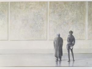 Man and Woman in an Art Gallery by Lincoln Seligman