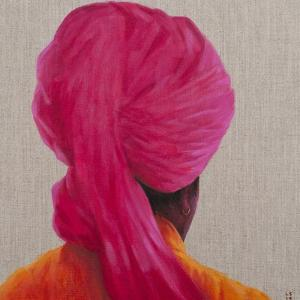 Pink Turban, Orange Jacket, 2014 by Lincoln Seligman
