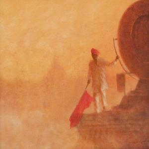 Railway Flag Man, Agra, 2010 by Lincoln Seligman