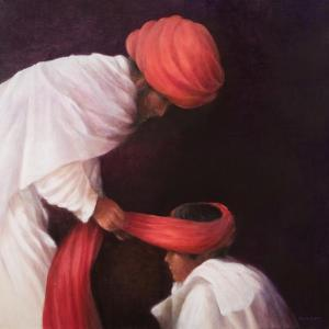 Tying a Turban, 2010 by Lincoln Seligman