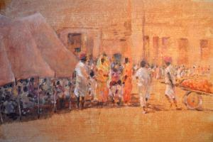 Village Scene, Jaipor by Lincoln Seligman