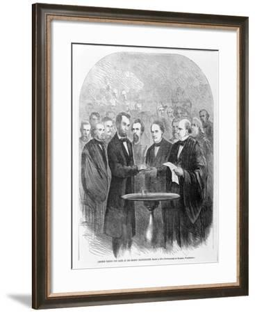 Lincoln Taking the Oath at His Second Inauguration, March 4, 1865, Published 1865--Framed Giclee Print