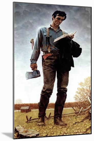 Lincoln the Railsplitter (or Young Woodcutter)-Norman Rockwell-Mounted Giclee Print